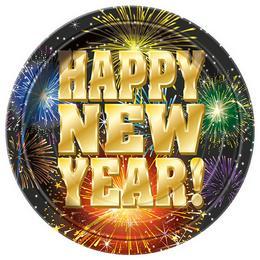 Happy New Year Fireworks Parti Tányér Szilveszterre - 23 cm, 8 db-os