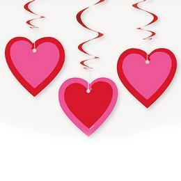 Piros Pink Szív Spirális Függő Dekoráció, 3 db-os