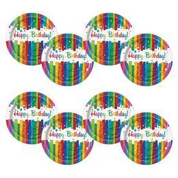 Szivárvány Szalagos - Rainbow Ribbons Szülinapi Parti Tányér - 8 db-os, 21 cm