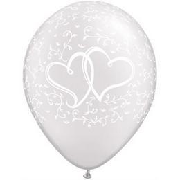 11 inch-es Entwined Hearts Diamond Clear Esküvői Lufi (50 db/csomag)