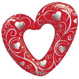 14 inch-es Hearts & Filigree Red Szerelmes Fólia Lufi (5 db/csomag)