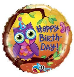 baglyos születésnapi képeslap 18 inch es Birthday Owl   Bagoly Szülinapi Fólia Lufi | Léggömb és  baglyos születésnapi képeslap