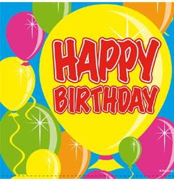 Balloons Happy Birthday Szülinapi Parti Szalvéta - 25 cm x 25 cm, 20 db-os