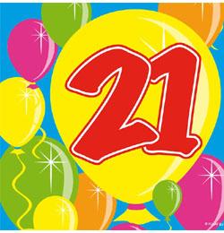 21 éves szülinapi köszöntő Balloons 21 es Számos Szülinapi Parti Szalvéta   25 cm x 25 cm, 20  21 éves szülinapi köszöntő