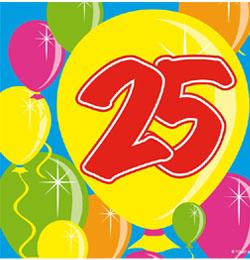 Balloons 25-ös Számos Szülinapi Parti Szalvéta - 25 cm x 25 cm, 20 db-os