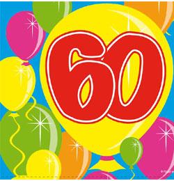 Balloons 60-as Számos Szülinapi Parti Szalvéta - 25 cm x 25 cm, 20 db-os