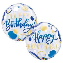 22 inch-es Birthday Blue & Gold Dots Szülinapi Bubble Lufi