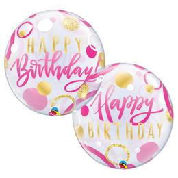 22 inch-es Birthday Pink & Gold Dots Szülinapi Bubble Lufi
