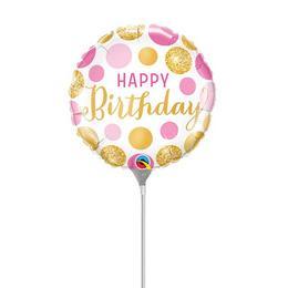 9 inch-es Birthday Pink & Gold Dots Szülinapi Fólia Lufi (5 db/csomag)