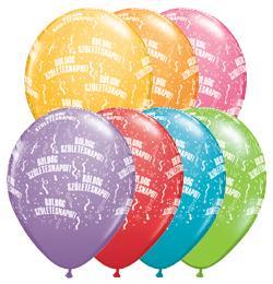11 inch-es Boldog Születésnapot Festive Lufi (6 db/csomag)