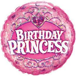 9 inch-es Birthday Princess Holografikus Szülinapi Fólia Lufi (5 db/csomag)
