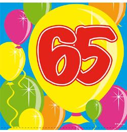 65 születésnapi köszöntő Balloons 65 ös Számos Szülinapi Parti Szalvéta   25 cm x 25 cm, 20  65 születésnapi köszöntő