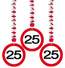 25-ös Sebességkorlátozó Szülinapi Parti Függő Dekoráció - 3 db-os