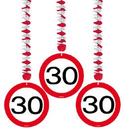 30-as Sebességkorlátozó Szülinapi Parti Függő Dekoráció - 3 db-os