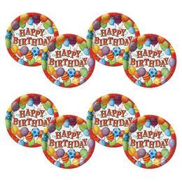 Birthday Balloons - Léggömbös Szülinapi Parti Tányér - 23 cm, 8 db-os