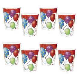 Birthday Balloons - Léggömbös Szülinapi Parti Pohár - 266 ml, 8 db-os
