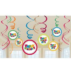 születésnapi dekorációs kellékek Happy Birthday Spirális Fiús Szülinapi Függő Dekoráció   12 db os  születésnapi dekorációs kellékek