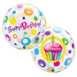 22 inch-es Birthday Cupcakes és Dots Szülinapi Bubble Lufi