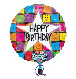 28 inch-es Happy Birthday Faces Szülinapi Éneklő Fólia Lufi