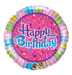 18 inch-es Pöttyök - Birthday Sprinkles and Sparkles Szülinapi Fólia Lufi