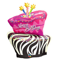 41 inch-es Torta - Birthday Funky Zebra Stripe Cake Szülinapi Fólia Lufi