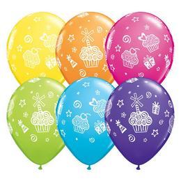 11 inch-es Cupcakes and Presents - Sütemények, Ajándékok Lufi (6 db/csomag)