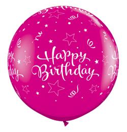 3 feet-es Birthday Shining Stars Wild Berry Szülinapi Lufi (2 db/csomag)