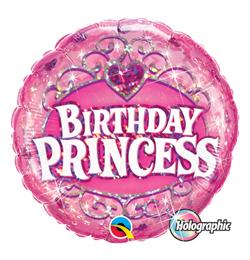 18 inch-es Birthday Princess Holografikus Szülinapi Fólia Lufi
