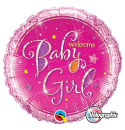 18 inch-es Welcome Baby Girl Stars Holografikus Fólia Lufi Babaszületésre