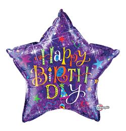 36 inch-es Birthday Typography Purple Holograph Szülinapi Csillag Fólia Lufi