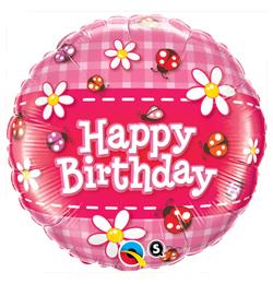 18 inch-es Birthday Ladybug, Daisies - Katicás, Virágos Szülinapi Fólia Lufi