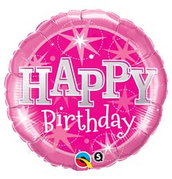 36 inch-es Birthday Pink Sparkle Szülinapi Fólia Lufi