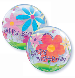22 inch-es Birthday Funky Flowers Szülinapi Bubble Lufi