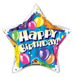 20 inch-es Birthday! Sparkling Balloons Star Szülinapi Fólia Lufi