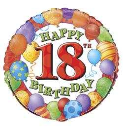 18 inch-es 18th Birthday Balloons - Léggömbös Szülinapi Számos Fólia Lufi