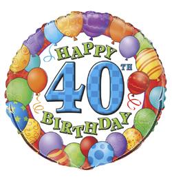18 inch-es 40th Birthday Balloons - Léggömbös Szülinapi Számos Fólia Lufi