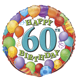18 inch-es 60th Birthday Balloons - Léggömbös Szülinapi Számos Fólia Lufi