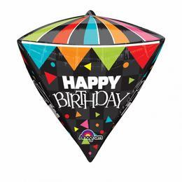 Happy Birthday Ultra Shape Diamondz Szülinapi Fólia Lufi