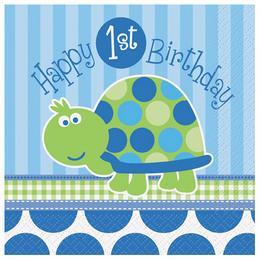 Teknős Mintás - 1st Birthday Turtle Első Szülinapi Parti Szalvéta - 33 cm x 33 cm
