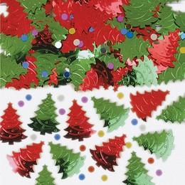 Piros/Zöld Karácsonyfa Konfetti - 14 gramm