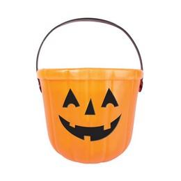 Tökfej Mintás Narancssárga Vödör Halloween-ra - 14 cm x 17 cm