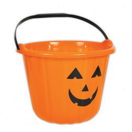 Tökfej Mintás Narancssárga Vödör Halloween-ra - 16 cm x 22 cm