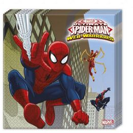 Ultimate Spiderman Web-Warriors - Pókember Parti Szalvéta - 33 cm x 33 cm, 20 db-os