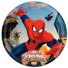 Ultimate Spiderman Web-Warriors - Pókember Parti Tányér - 19,5 cm, 8 db-os