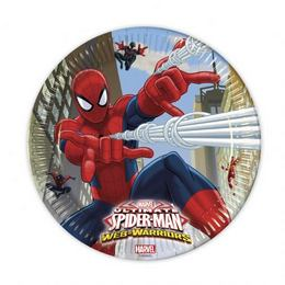 Ultimate Spiderman Web-Warriors - Pókember Parti Tányér - 23 cm, 8 db-os