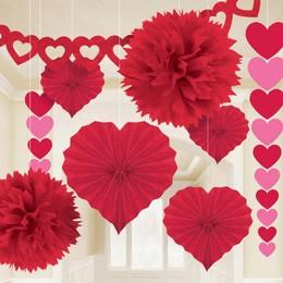 Valentin-napi Piros Dekorációs Szett, 9 db-os