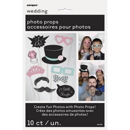 Esküvői Vicces Kiegészítő Szett Fotózáshoz, 10 db-os