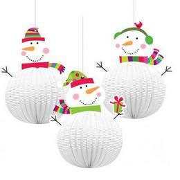 Joyful Snowman - Hóemberes Karácsonyi Lampion Függő Dekoráció - 20 cm-es, 3 db-os
