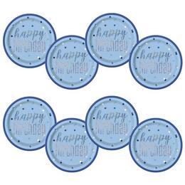 Happy Birthday Világoskék Glitz - Konfetti Mintás Csillogó Tányér - 22 cm, 8 db-os