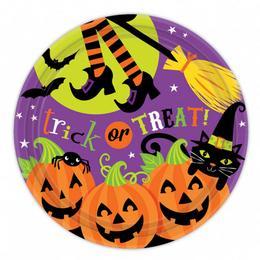 Witches' Crew Parti Tányér Halloween-ra - 23 cm, 8 db-os